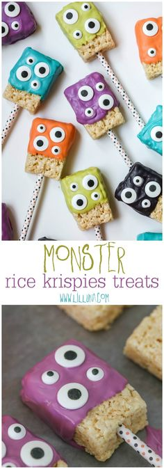Rice Krispie Treats Monster Rice Krispies Treats - a simple, festive and delicious treat perfect for Halloween or Monster parties!Monster Rice Krispies Treats - a simple, festive and delicious treat perfect for Halloween or Monster parties! Halloween Desserts, Cute Halloween Treats, Soirée Halloween, Halloween Baking, Halloween Goodies, Halloween Festival, Halloween Crafts For Kids, Halloween Birthday, Halloween Cupcakes