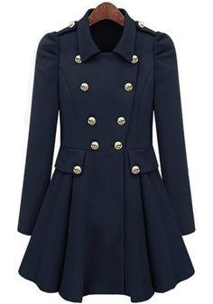 Love the Buttons! Navy Blue Pleated Puff Sleeve Polyester Trench Coat