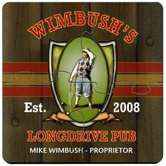Golf Longdrive Pub Personalized Bar Coasters Puzzle Set. Idle hands do the devil's work. That's why we offer these unique custom coaster sets that double as both surface protectors and a miniature puzzle to provide endless hours of entertainment. Personalized Golf Longdrive Pub coaster sets include a place for two lines of text plus established year worked into a wide variety of full-color designs. These coasters are made to look like they came straight from the neighborhood pub, so