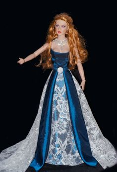 princess doll, fashion doll, red hair, blue dress, FANTASYDOLLS
