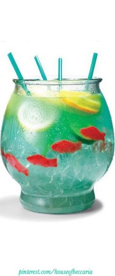 "~Coral Reef Punch: ½ cup Nerds candy ½ gallon goldfish bowl 5 oz. vodka 5 oz. Malibu rum 3 oz. blue Curacao 6 oz. sweet-and-sour mix 16 oz. pineapple juice 16 oz. Sprite 3 slices each: lemon, lime, orange 4 Swedish gummy fish Sprinkle Nerds on bottom of bowl as ""gravel."" Fill bowl with ice. Add remaining ingredients. Serve with 18-inch party straws to share with the girls! 
