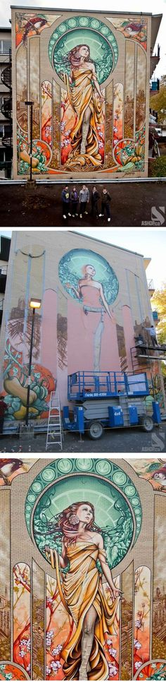 An art nouveau mural in Montreal