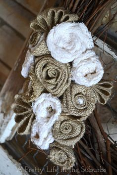 Rustic decor - Burlap and old bulky sweater flowers