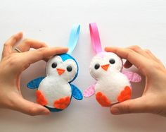 Christmas Penguin Couple Ornament set   Ecofriendly by Mariapalito