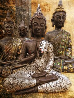 """To be calm is the highest achievement of the self.""                  ~  Zen Proverb  *  Buddha statues, India   <3 lis"