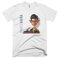 "An icon of dark existentialist literature, Franz Kafka (1883–1924) was the author of novels and short stories. Filled with themes of alienation, conflict, and oppression, his works inspired an adjective ""Kafkaesque"" to describe nightmarish experiences prevalent in his writings.    The American Apparel t-shirt is the smoothest and softest t-shirt you'll ever wear. Made of fine jersey, it has a durable, vintage feel. These classic-cut shirts are known for their premium quality, as well as…"