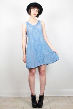 Vintage 90s Dress Blue Dress Embroidered Mini Dress 1990s Dress Boho Sundress Loose Draped Soft Grunge Dress Soutache Hippie Dress M Medium #vintage #etsy #90s #1990s #grunge #softgrunge #hippie #sundress #boho #dress #minidress