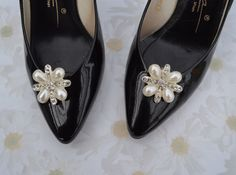 Pearl And Rhinestone Shoe Clips by PetalToes on Etsy