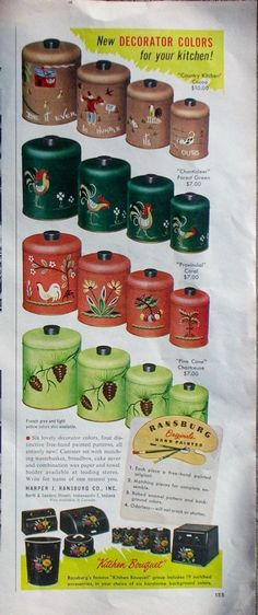 Ransburg Hand Painted Kitchen Cannister Set Better Homes Gardens 1954.  I have the Chanticleer and the Provincial.  I want the Country Kitchen!