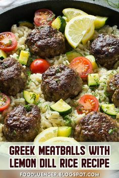 Greek Meatballs With Lemon Dill Rice Recipe can be an option for your dinner, seasoned with a thick Greek flavor and vegetables, all cooked together in one quick pot. Seasoned Rice Recipes, Dill Recipes, Greek Recipes, Vegetable Recipes, Yummy Recipes, Recipies, Healthy Recipes, Meatballs And Rice, Greek Meatballs