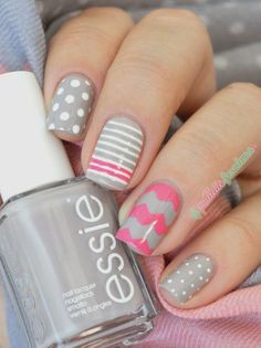 Grey and pink - mix and match nails