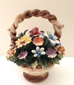 Vintage 8 inch Capodimonte flower basket by JanvierRoad on Etsy