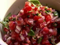 Pico de Gallo   Pioneer Woman Basic onions and tomatoes with cilantro, jalapenos, lime and salt