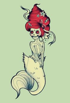 I have been conjuring a sort of underwater scene for a half or even 3/4 sleeve piece for a little over a year now and I love mermaids, and skulls, but I know two people who will probably get those tattoos so I thought..... hey.... why not a mermaid skeleton!? :) I think I'll find a beautiful way to encorporate some kind of elegant mystical mermaid skeleton into my piece. <3