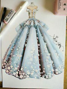 How to Draw a Fashionable Dress - Drawing On Demand - fashion illustration by xiaoyan liu - Dress Design Drawing, Dress Design Sketches, Fashion Design Drawings, Dress Drawing, Fashion Sketches, Drawing Clothes, Drawing Hair, Fashion Drawing Dresses, Fashion Illustration Dresses