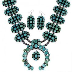 Native American Jewelry | Carico Lake Turquoise Set | Squash Blossom Necklace http://www.silvertribe.com