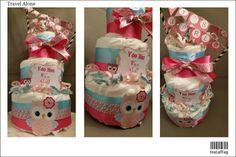 Pink owl diaper cake