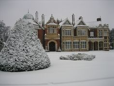 "placesicouldlive: "" robot-heart: "" A Winter Wonderland (via Bletchley Park Trust) (via) "" "" Grayson Manor, Bletchley Park, English Manor Houses, Secret House, Fancy Houses, Milton Keynes, Through The Looking Glass, Winter Garden, Winter Wonderland"