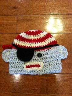 Pirate Sock Monkey Crochet Beanie Skullcap Hat by passion4craftin, $11.00