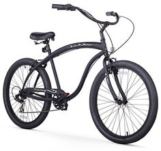 "Matte Black Red Rims 26/"" Bruiser Prestige Man 1-Speed Beach Cruiser Bicycle"