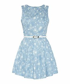Blue Pattern (Blue) Parisian Blue Denim Floral Print Cut Out Skater Dress | 307997449 | New Look