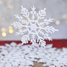 White Pearlized Glitter Snowflake Ornaments 10 for $4