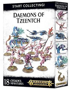 The Changer of Ways, the Master of Fortune, the Great Conspirator and the Architect of Fate – these are just some of the names of Tzeentch. A brother god to Nurgle, Khorne and Slaanesh, and often an ally of the Horned Rat, he is the undisputed master of the arcane arts. His daemonic followers swarm over the battlefields in scintillating glory, searing the land with coruscating flames of change.This is a great-value box set that gives you an immediate collection of fantastic Daemons of…