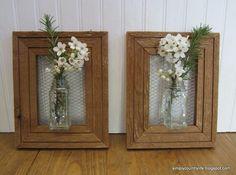 Framed chicken wire vase
