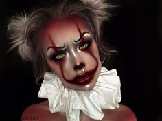 Looking for for inspiration for your Halloween make-up? Browse around this website for creepy Halloween makeup looks. Halloween Makeup Clown, Scary Clown Makeup, Halloween 2018, Halloween Makeup Looks, Pretty Halloween, Halloween Images, Easy Halloween, Cleopatra Halloween, Halloween Eyes
