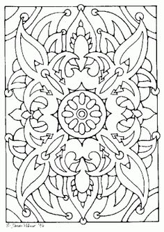 Kleurplaten / Coloring pages – Pagina 21 – ~ * Pagan Ouderschap / Pagan Parenting * ~ Doodle Patterns, Zentangle Patterns, Line Patterns, Pattern Coloring Pages, Coloring Book Pages, Coloring Pages For Grown Ups, Rug Hooking Patterns, Doodle Coloring, Stained Glass Patterns