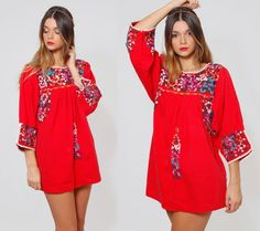 Vintage 70s MEXICAN Top Red EMBROIDERED Floral Tunic Oaxacan Top by LotusvintageNY