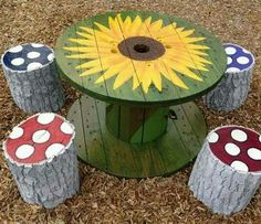Outdoor table from logs & cable spool.