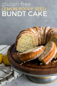 This Lemon Poppy Seed Bundt Cake is the perfect cake for gatherings. Made with a gluten-free baking flour and dairy-free friendly. If you are a lemon lover you'll love this cake. Gluten Free Baking, Gluten Free Desserts, Healthy Baking, Healthy Desserts, Gluten Free Recipes, Healthy Menu, Healthy Treats, Healthy Recipes, Poppy Seed Bundt Cake
