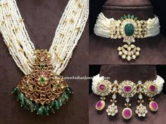 lovely designer pearl chokers from Amarsons in simple yet stylish designs comprising multiple string pearl choker with polki studded ruby and emerald center piece. Pearl Necklace Designs, Beaded Jewelry Designs, Jewelry Design Earrings, Gold Jewellery Design, Bead Jewellery, Antic Jewellery, Gold Jewelry, Jewelery, Pearl Necklace Wedding