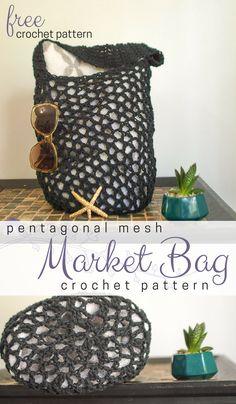 Free Pentagonal Mesh Market Bag Pattern • Salty Pearl Crochet