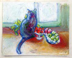 """Cat With Fruit"" hot pad/trivet."