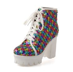 WeiPoot Womens Closed Round Toe High Heels Sequins Frosted Assorted Color Boots with Bandage and Platform * Find out more details by clicking the image : Boots