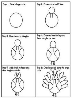 how to draw a turkey step by step for kids - - Yahoo Image Search Results