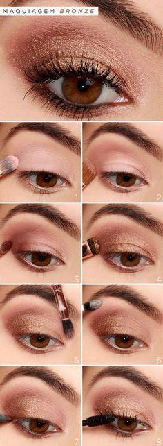 Para as convidadas da festa de 15 anos que curtem make DIY, escolhemos um tutorial de maquiagem bronze esfumada! Linda demais, vem ver!