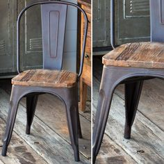 Elm Seat Metal Bistro Chair 1