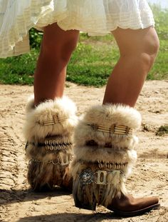 Tall bohemian feathered tribal boots from The Look Factory!