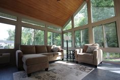 Traditional Wooden Ceiling Also Great White Fur Rug Also Beautiful Fabric Sofa Also Large Glass Windows With Contemporary Sunroom Designs Inspiring Tips