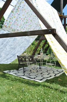 DIY:: So Creative & Adorable ! Homemade Swing set tent with Sheets ! by @jen Rizzo