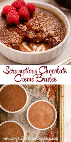 This Chocolate Creme Brulee recipe is delicious, creamy, and the most perfect special occasion dessert. Easily made ahead of time, and absolutely scrumptious your guests will love this creme brulee. Chocolate Creme Brulee, Best Chocolate, Chocolate Recipes, Pavlova, Baking Recipes, Dessert Recipes, Gourmet Desserts, Plated Desserts, Sushi Recipes