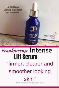 "Frankincense Intense Lift Serum is a luxurious serum made with organic ingredients and made without parabens & phthalates. One reviewer said it gave her ""firmer, clearer and smoother looking skin"". Read about this and other products to help age well and reduce fine lines and wrinkles."