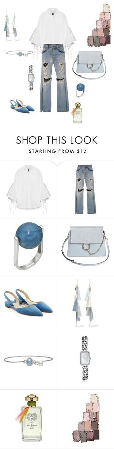 """Distressed denim!"" by futuraocculto ❤ liked on Polyvore featuring Facetasm, Jonathan Simkhai, French Connection, Chloé, Paul Andrew, Chan Luu, Chanel, Maitre Parfumeur et Gantier, white and teal"