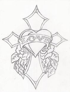 Ed hardy drawings designs sketch coloring page cross coloring page, flower coloring pages, coloring Cross Tattoo Designs, Tattoo Design Drawings, Pencil Art Drawings, Art Drawings Sketches, Easy Drawings, Drawings Of Love, Cross Coloring Page, Heart Coloring Pages, Free Adult Coloring Pages