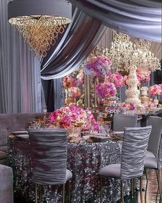 This textured filled wedding mixed gold tabletop details such as glassware with silver details from the elegant draping sequin table linens and customchair covers. Together it created a unique style with lots of details. Wedding Table Centerpieces, Reception Decorations, Event Decor, Bridal Table, Fuschia Wedding, Wedding Colors, Reception Table, Wedding Reception, 1920s Wedding