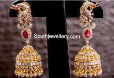 Indian Jewellery Designs - Latest Indian Jewellery Designs 2020 ~ 22 Carat Gold Jewellery one gram gold Diamond Jhumkas, Gold Diamond Earrings, Diamond Jewelry, Gold Jewelry, Jewelery, Indian Jewellery Design, Latest Jewellery, Jewelry Design, India Jewelry
