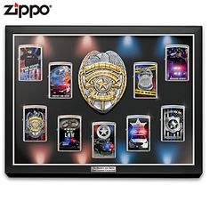 904610 - To Protect And Serve Police Zippo® Lighter Co… Zippo Limited Edition, Dupont Lighter, Zippo Collection, Bradford Exchange, Rough Riders, Zippo Lighter, Custom Glass, John Wayne, Display Case
